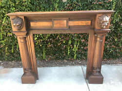 Architectural Antique Fireplace Mantel With Carved Lions Vintage Mahogany