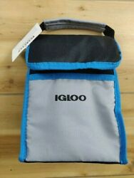 IGLOO BAG IT COOLER BAG WITH HANDLE NEW INSULATED BLUE BLACK GRAY LUNCH $7.95