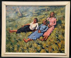 1930s Irish / Polish Impressionist Oil Painting Of Sisters By Tristram Rainey