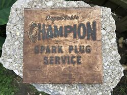 """Vintage Champion Spark Plug Service Thick Heavy Metal Plate Sign 10"""" X 10"""""""