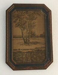Antique Needlepoint Tapestry Tree In Meadow Octogonal Frame French 15 X10 1/2