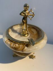 Rare Vintage Art Deco Vintage Cherub With Arrow And Onyx Footed Ashtray 7 Guc