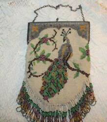 Beautiful Antique Victorian Micro Beaded Peacock On Branch Metal Frame Purse
