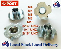 M4 M5 M6 M8 M10 3/16 1/4 5/16 3/8 T Tee Nut Nuts Blind 4 Prong Wood Timber