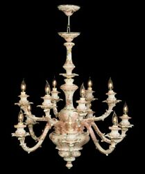 Capodimonte Made In Italy Chandelier 12 Light New Mother Of Pearl Finish
