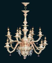 Capodimonte Made In Italy Chandelier 12 Light And 3 Cherub Mother Of Pearl Finish