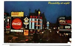 Piccadilly Circus At Night London Coca Cola Sign Posted 1968