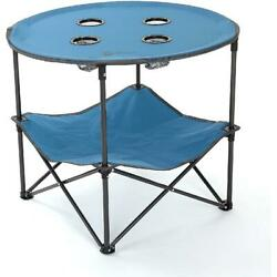 Blue 30 Heavy Duty Folding Portable Camping Table Round W/ 4 Cup Holders