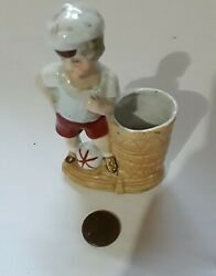 Vintage German Porcelain Toothpick Holder Looks Old Young Boy With Ball