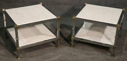 Pair Of Steel And Brass White Carrara Marble Top Maison Jansen Style End Tables