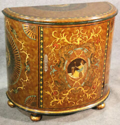 Paint Decorated Venetian Style Demilune Commode Cabinet With Mythical Figures