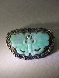 Antique Chinese Pin Brooch Carved Jade Moth Moss-on-snow Jadeiteandsilver 12g
