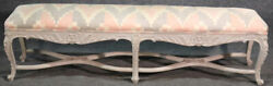 Paint Decorated French Louis Xv Long Narrow Window Bench Stool Ottoman C1940