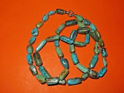 WHITNEY KELLY DESIGNER FOR QVC TURQUOISE RECTANGULAR BEAD NECKLACE 40quot; STERLING $95.00