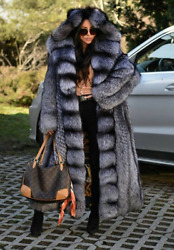 Luxury Real Silver Fox Fur Coats For Women Winter Natural Fur Overcoat Outerwear