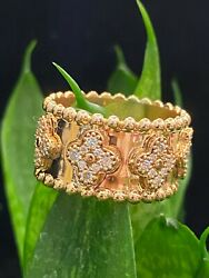 Pave 0.90 Cts Round Brilliant Cut Diamonds Engagement Band Ring In Fine 18k Gold