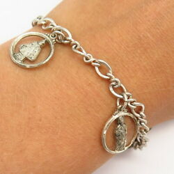 925 Sterling Vintage Creed Religious Theme Assorted Charm Link Bracelet 6.5