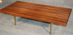 One Of Two Matched Large Teak Danish Slat Form Coffee Cocktail Tables With Brass