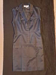 Givenchy Couture Alexander Mcqueen Cotton Top-stitched Dress 42 M Euc Rare Fab