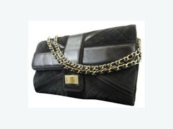 Black Suede Quilted Maxi Reissue Chain Flap 217680