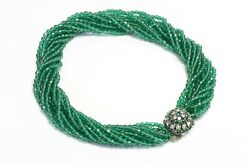 Christian Dior Henkel And Grosse 1964 Green Glass Beads Multi Strand Necklace