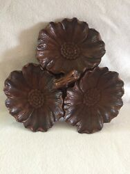 Vintage Ornawood Divided Tray W Three Flowers 8 Diameter Made In Usa