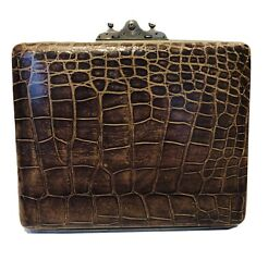 Antique Brown Alligator Purple Leather Travel Expandable Jewelry Case