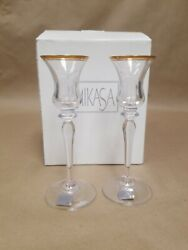 2 Mikasa Crystal Candlestick Tapered Candle Holders Jamestown Gold 7-3/4