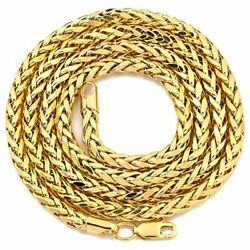 10k Yellow Gold 4mm Wheat Palm Chain Necklace With Lobster Lock 18 To 30