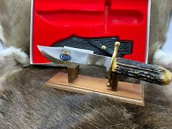 Case Xx 100th Anniversary Stag Big Bowie Knife And Leather Sheath Mint In Box A