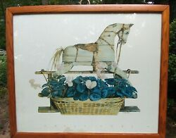 Nancy Noel Extremely Rare Print} Carousel Horse Over Flowers Huge 39andrdquox 44andrdquo