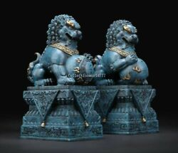 Pair 9and039and039 Bronze Copper Cire Purdue Casting Forbidden City Guard Lion Foo Dog