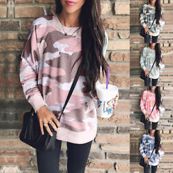 Womens Camouflage Long Sleeve Casual Tops Ladies Loose Pullover Blouse T Shirts $16.99