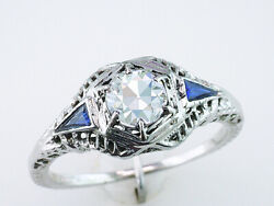 Vintage Diamond And French Cut Sapphires Engagement Ring Gia .69ct 18k Antique