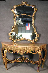Large Gilded French Louis Xvi Style Faux Bois Console Table With Mirror