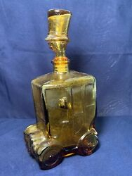 Vintage Glass Unique Decanter Man Top Hat Yellow Model A Car Old Fashion Italy