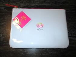 NWT Kate Spade LIVE COLORFULLY White Neon Cosmetic Case Makeup Bag Pouch $19.95