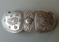 Antique 1881 Cherubs Ottoman Hand-forged And Engraved Silver Alloy Belt Buckle