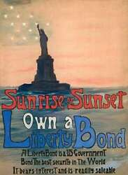 Art-print-deland-museo-sunrise-or-sunset--own-a-liberty-bond--1917-on-paper-can