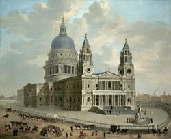 Art-print-english-school-landscape-view-of-st.-pauls-cathedral-on-paper-canvas-