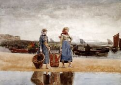 Art-print-homer-coastal-two-girls-on-the-beach--tynemouth-on-paper-canvas-or-fr