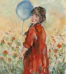 Art-print-fadda-childrenand039and039s-art-young-girl-whit-balloon-flowery-field-on-paper-