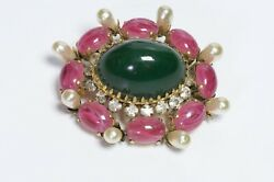 Schreiner New York 1950andrsquos Green Pink Cabochon Glass Crystal Pearl Brooch