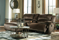 Motion Living Room 3 Piece Sectional Brown Fabric Reclining Sofa Chaise Set If1v