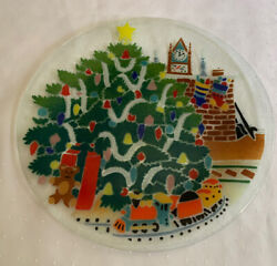 """Vintage Christmas Morning Platter Tray 14"""" Gorgeous Detailed Fused Glass Art"""