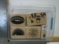 Stampin Up Summer Fun Beach Toys Sun Set Of 6 Wood Rubber Stamps Euc A23557