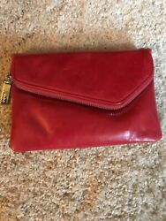 HOBO small red leather clutch crossbody with detachable adjustable chain $16.00