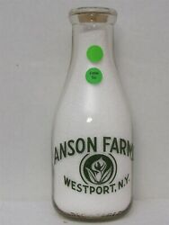 Trpq Milk Bottle Anson Farms Dairy Farm Westport Ny Full Cow Picture And Flower