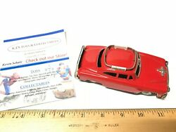 Rare Vintage 1950's Bright Red Tin Friction Airport Limousine Toy Car