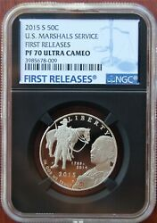 2015 S Silver Us Marshals Service Proof Half Ngc Pf70 Ultra Cameo First Release